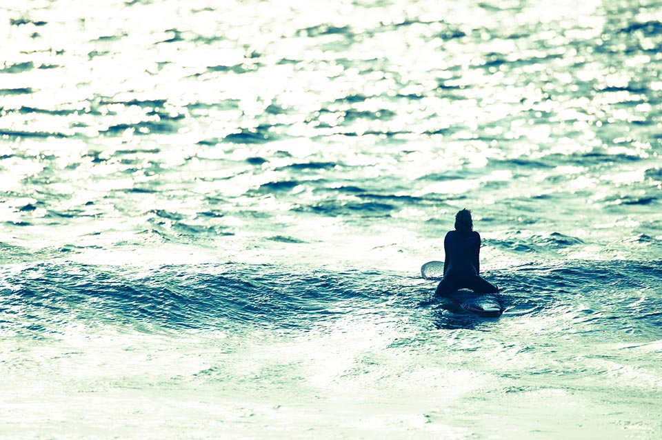 Surfer waiting for a wave
